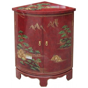 Meuble d 39 angle encoignure chinoise rouge promodiscountmeubles magasin - Meuble asiatique rouge ...