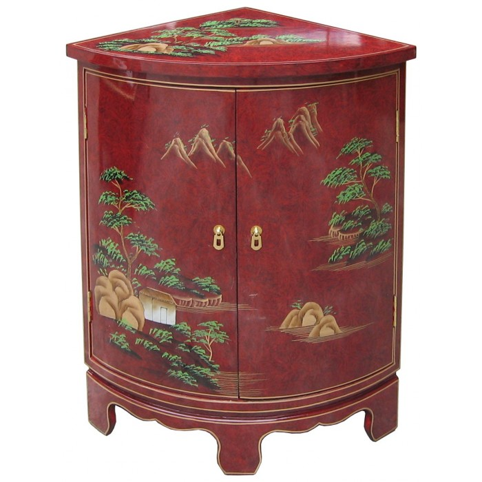 meuble d 39 angle encoignure chinoise rouge. Black Bedroom Furniture Sets. Home Design Ideas