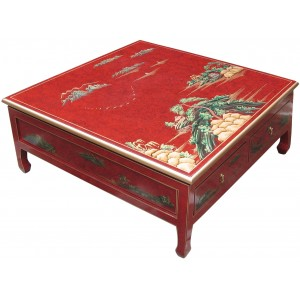 Table basse chinoise 4 tiroirs laque rouge - Table basse rouge laque ...