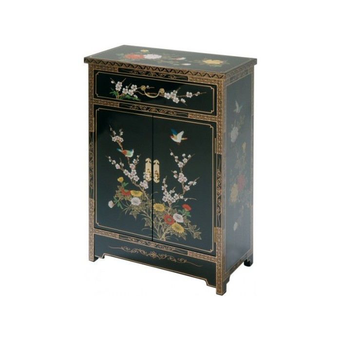 Meuble chinois noir laqu promodiscountmeubles magasin for Commode japonaise