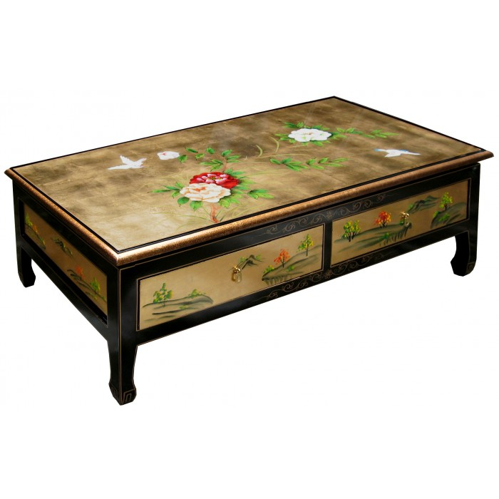table basse chinoise 2 tiroirs laque d 39 or. Black Bedroom Furniture Sets. Home Design Ideas