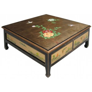 table basse chinoise 4 tiroirs laque dor - Table Basse Asie