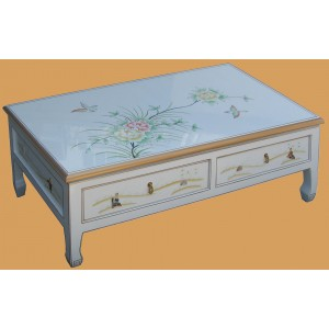 Table salon chinoise laque blanche 2 tiroirs