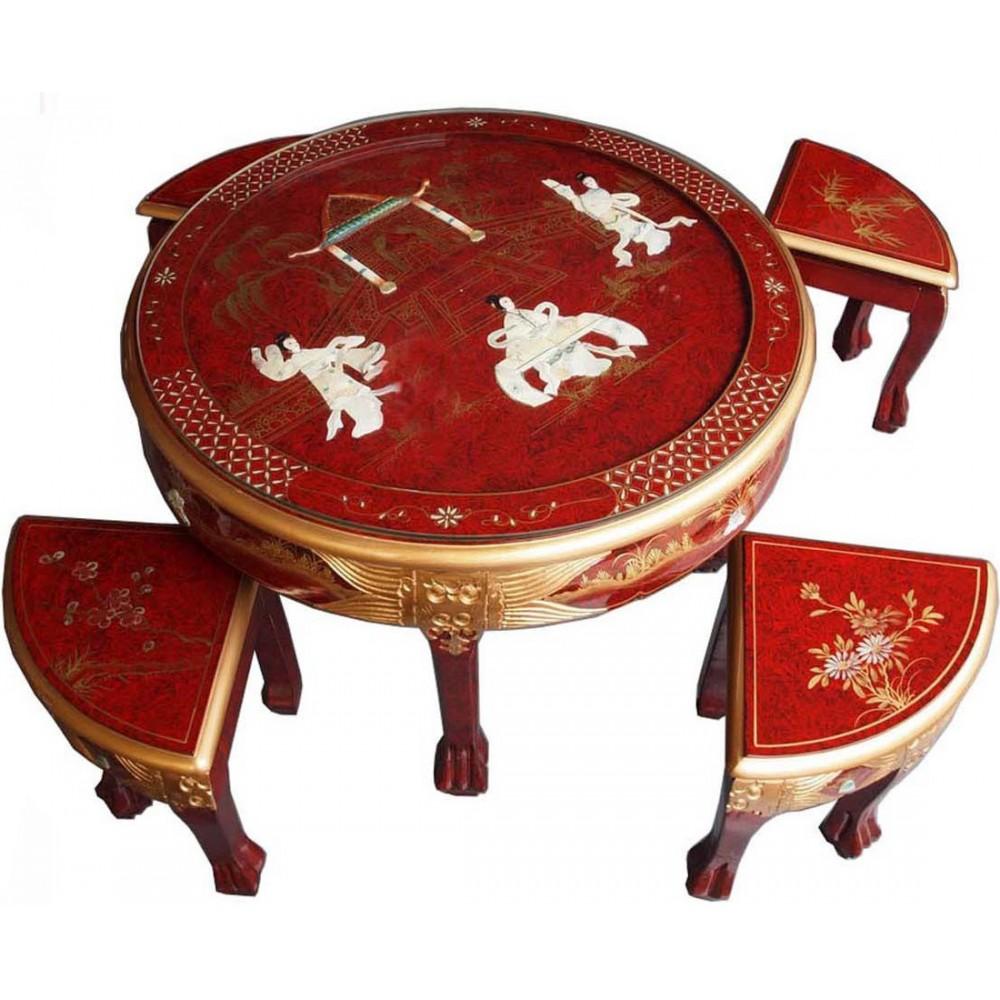 table basse ronde chinoise 4 tabourets laque rouge magasin du meuble asiatique et chinois. Black Bedroom Furniture Sets. Home Design Ideas