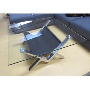 Table basse verre et acier promodiscountmeubles magasin for Table basse verre acier