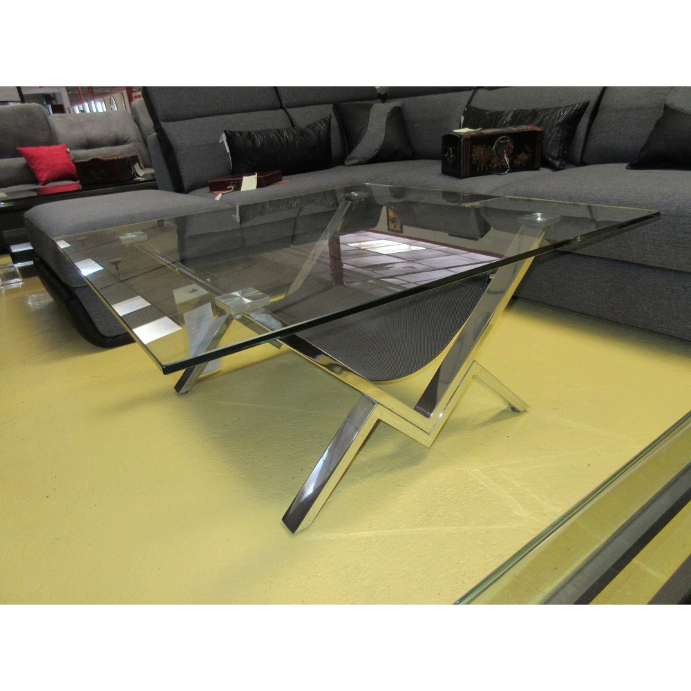 Table basse verre et acier promodiscountmeubles magasin for Table basse verre