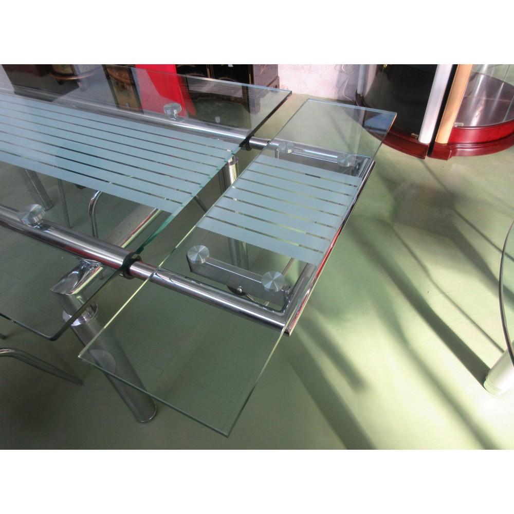 Table salle manger verre avec rallonges magasin du - Table de sejour en verre ...