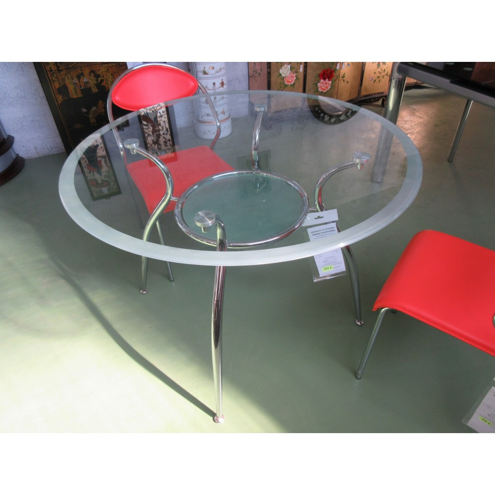 Table ronde moderne en verre promodiscountmeubles for Meuble asiatique moderne