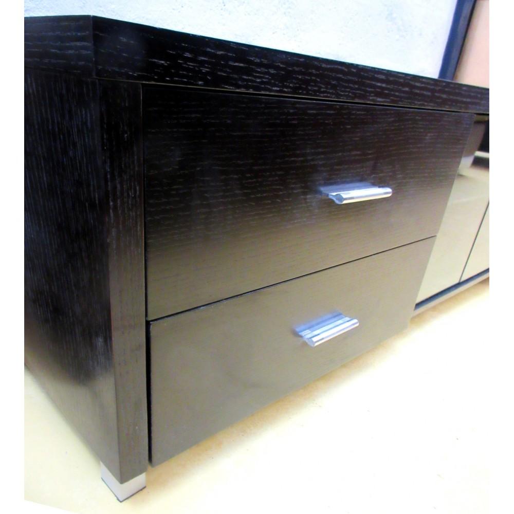 Meuble tv wenge et verre maison design for Meuble tv kaorka