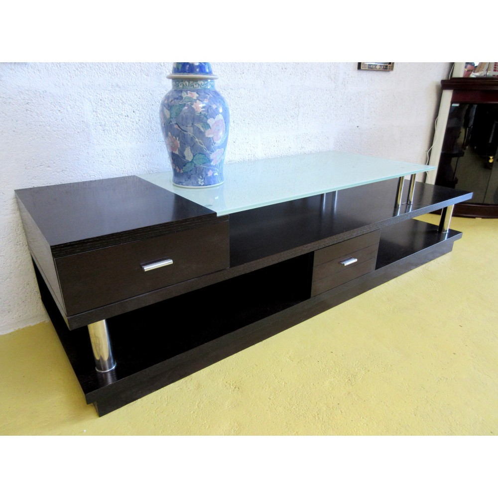 meuble tv wenge et verre table de lit a roulettes. Black Bedroom Furniture Sets. Home Design Ideas