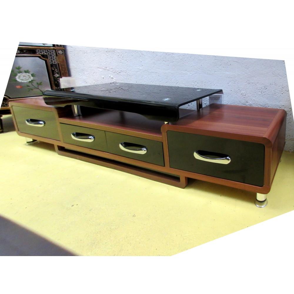 Meuble t l hi fi verre et bois promodiscountmeubles for Meuble tv verre et bois