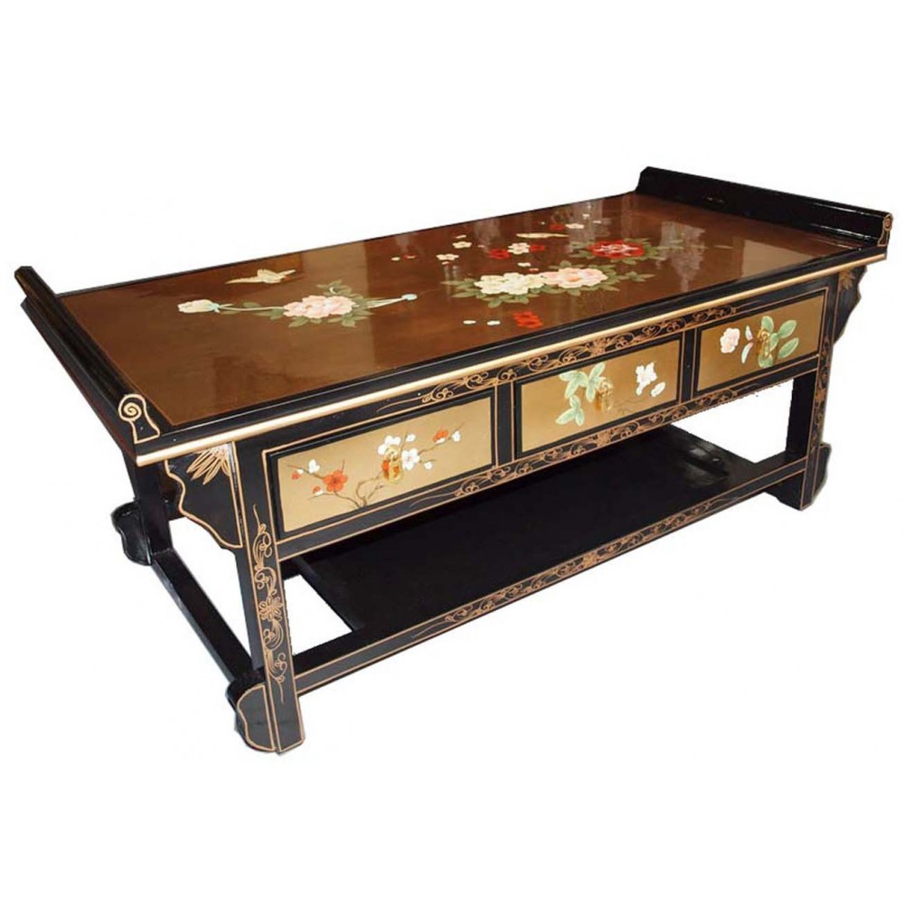 table chinoise laque dor e 3 tiroirs magasin du meuble asiatique et chinois. Black Bedroom Furniture Sets. Home Design Ideas