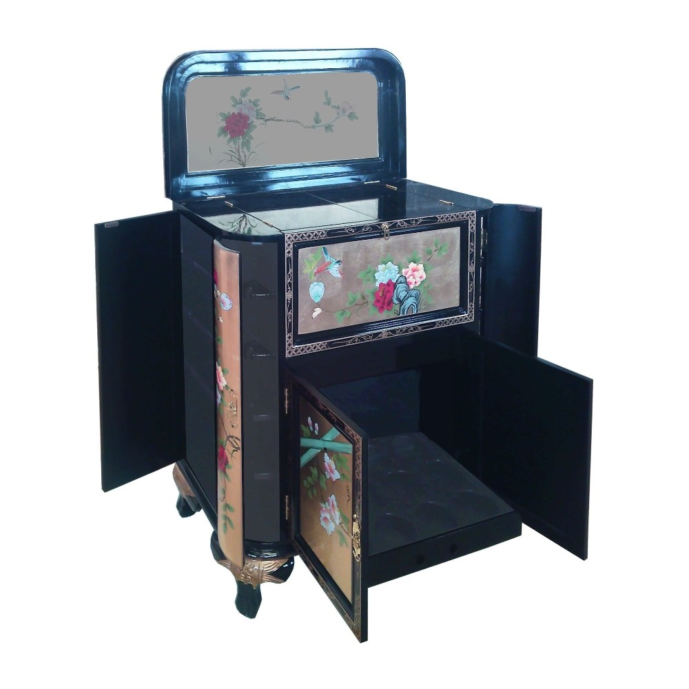 Meuble bar chinois ancien noir laqu magasin du meuble for Meuble asiatique