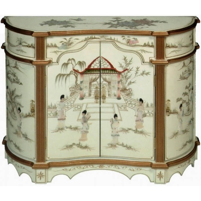 meuble chinois commode ancien galb laqu blanc magasin du meuble asiatique et chinois. Black Bedroom Furniture Sets. Home Design Ideas
