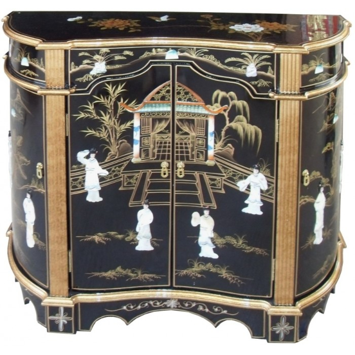 Meuble commode chinois ancien galb laque noire magasin for Meuble asiatique ancien