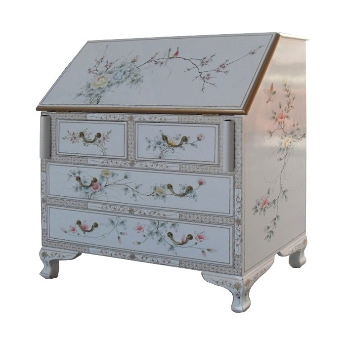 Scriban secr taire chinois laque blanche magasin du for Meuble chinois blanc