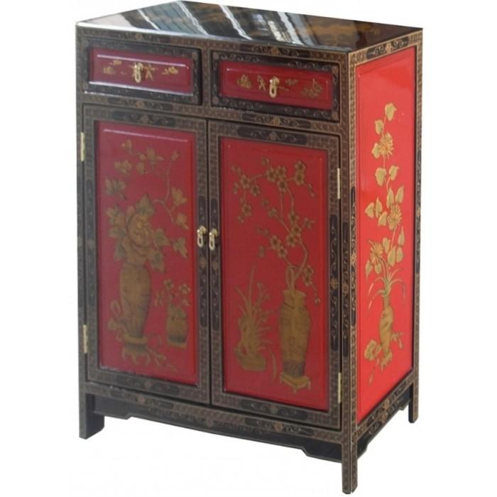 meuble d 39 entr e chinois rouge et noir magasin du meuble asiatique et chinois. Black Bedroom Furniture Sets. Home Design Ideas