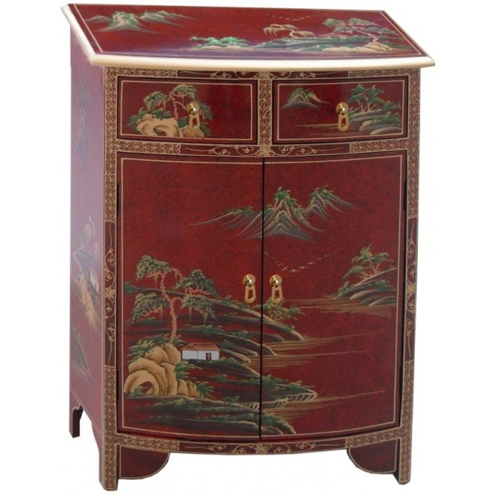 Meuble d 39 entr e chinois galb rouge magasin du meuble asiatique et chinois - Meuble asiatique rouge ...