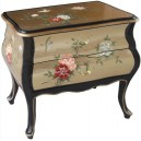 Petite commode chinoise 2 tiroirs laque d'or galbée