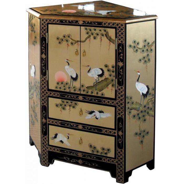 Meuble chinois d 39 angle laque d 39 or magasin du meuble for Meuble asiatique ancien