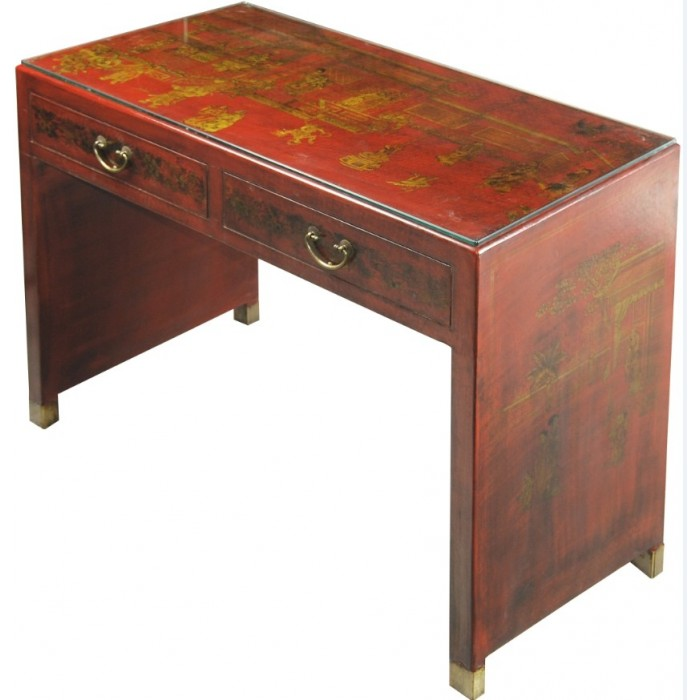 Bureau chinois rouge magasin du meuble asiatique et chinois for Meuble bureau rouge