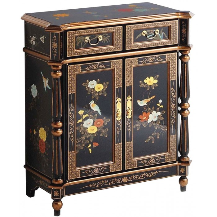 meuble d 39 entr e chinois colonnes laque noire promodiscountmeubles magasin en ligne de. Black Bedroom Furniture Sets. Home Design Ideas