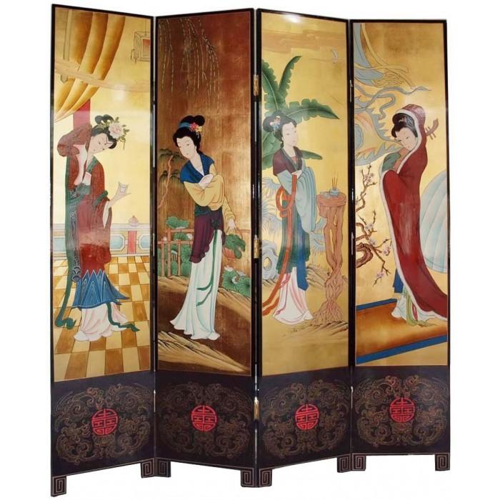 Paravent chinois ancien laqu 4 panneaux magasin du for Meuble japonais ancien