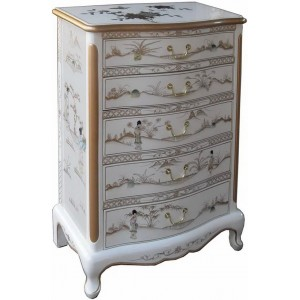 chiffonnier blanc laque chinoise 5 tiroirs promodiscountmeubles magasin en ligne de meubles. Black Bedroom Furniture Sets. Home Design Ideas