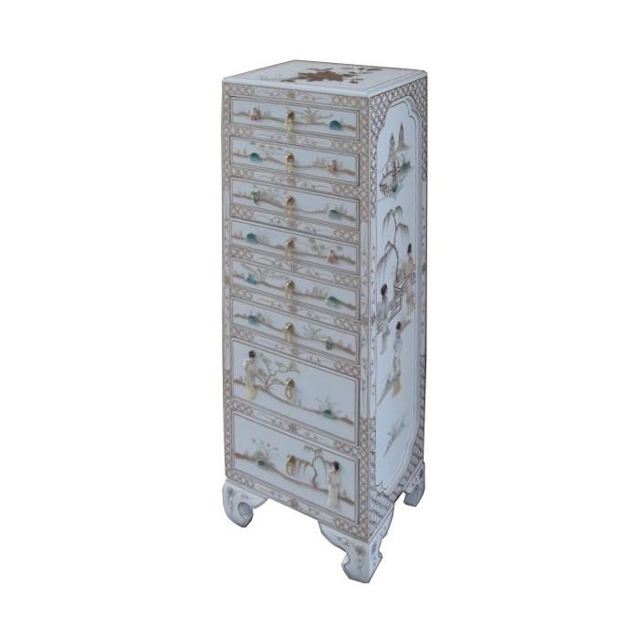 semainier chinois laque blanche promodiscountmeubles magasin en ligne de meubles chinois et. Black Bedroom Furniture Sets. Home Design Ideas