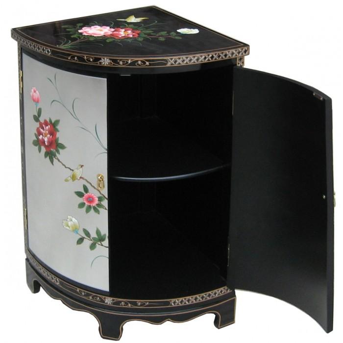meuble d 39 angle chinois laque argent et noir magasin du meuble asiatique et chinois. Black Bedroom Furniture Sets. Home Design Ideas