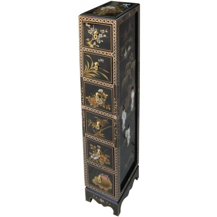 Meuble cd colonne laque noire chinois magasin du meuble for Meuble chinois laque noir