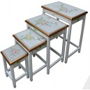 Tables chinoises gigognes laque blanche (x4)