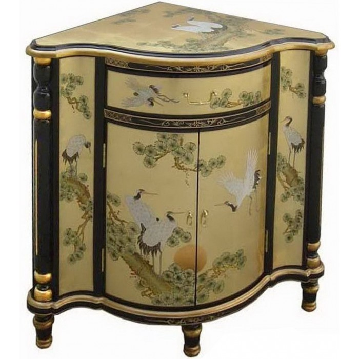 Meuble d 39 angle chinois laque d 39 or promodiscountmeubles for Meuble asiatique