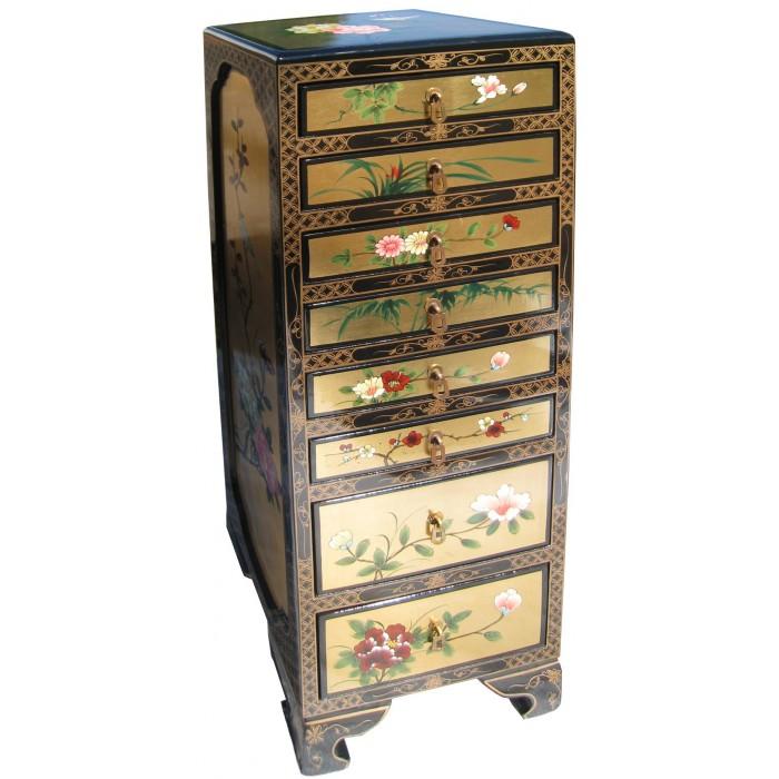 Semainier chinois laque dor e 8 tiroirs magasin du for Meuble asiatique