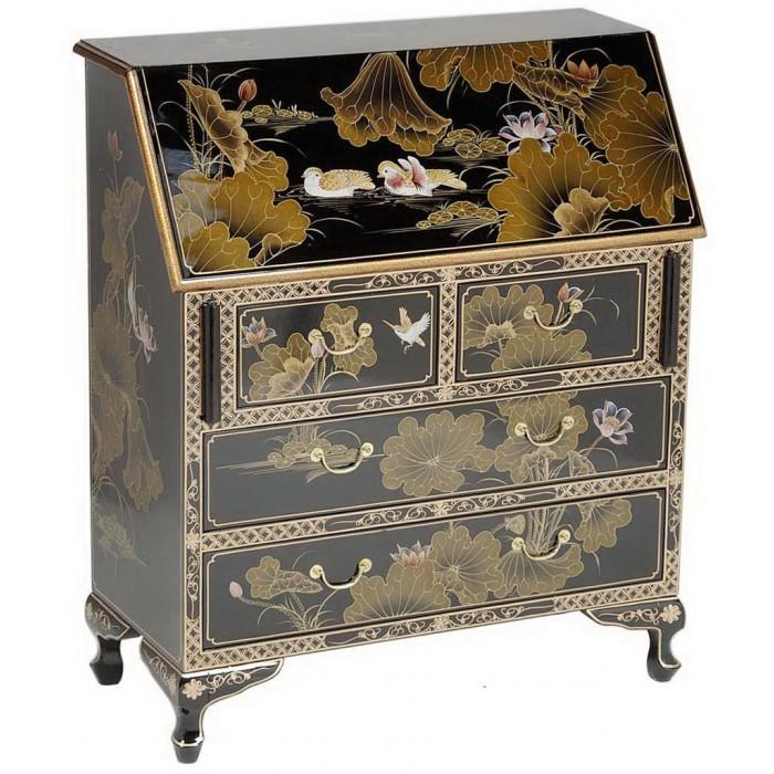 Secr taire chinois laque noire magasin du meuble for Meuble chinois laque noir