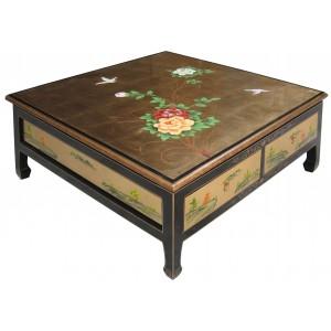 Table basse Chinoise 4 Tiroirs Laque dorée | Meubles Chinois Laqués