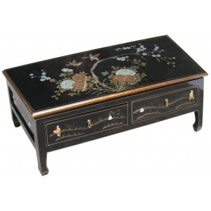 Table chinoise basse 2 tiroirs laque noire