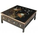 Table basse asiatique 4 tiroirs laque noire