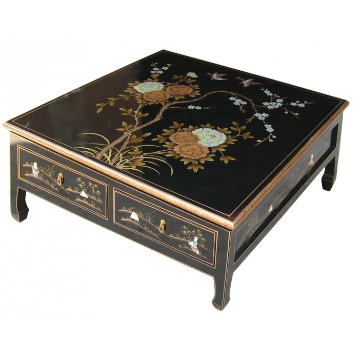table basse asiatique 4 tiroirs laque noire magasin du meuble asiatique et chinois. Black Bedroom Furniture Sets. Home Design Ideas