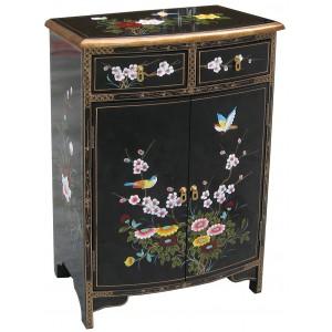 Meuble d 39 entr e chinois galb noir magasin du meuble for Meuble chinois laque noir