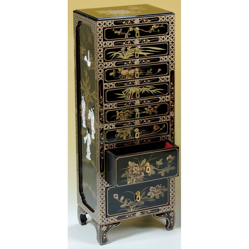 Semainier chinois laque noire et nacre magasin du meuble for Meuble chinois laque noir