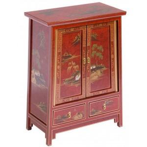 Meuble trap ze chinois rouge magasin du meuble asiatique for Meuble chinois rouge