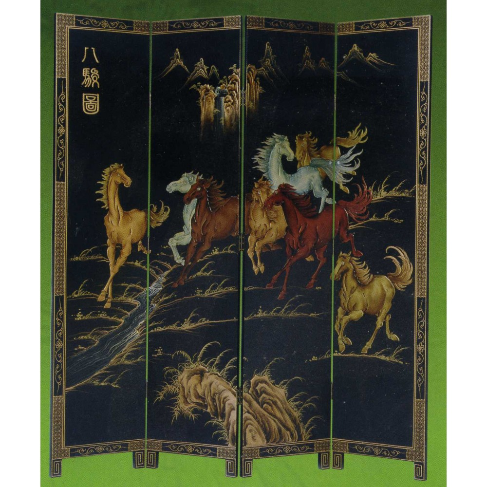 paravent asiatique chevaux magasin du meuble asiatique et chinois. Black Bedroom Furniture Sets. Home Design Ideas