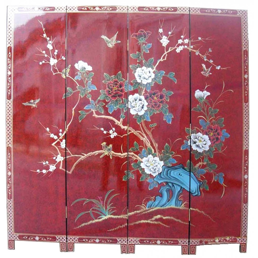 paravent ancien chinois rouge laqu magasin du meuble asiatique et chinois. Black Bedroom Furniture Sets. Home Design Ideas