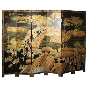 Paravent asiatique en relief 6 panneaux