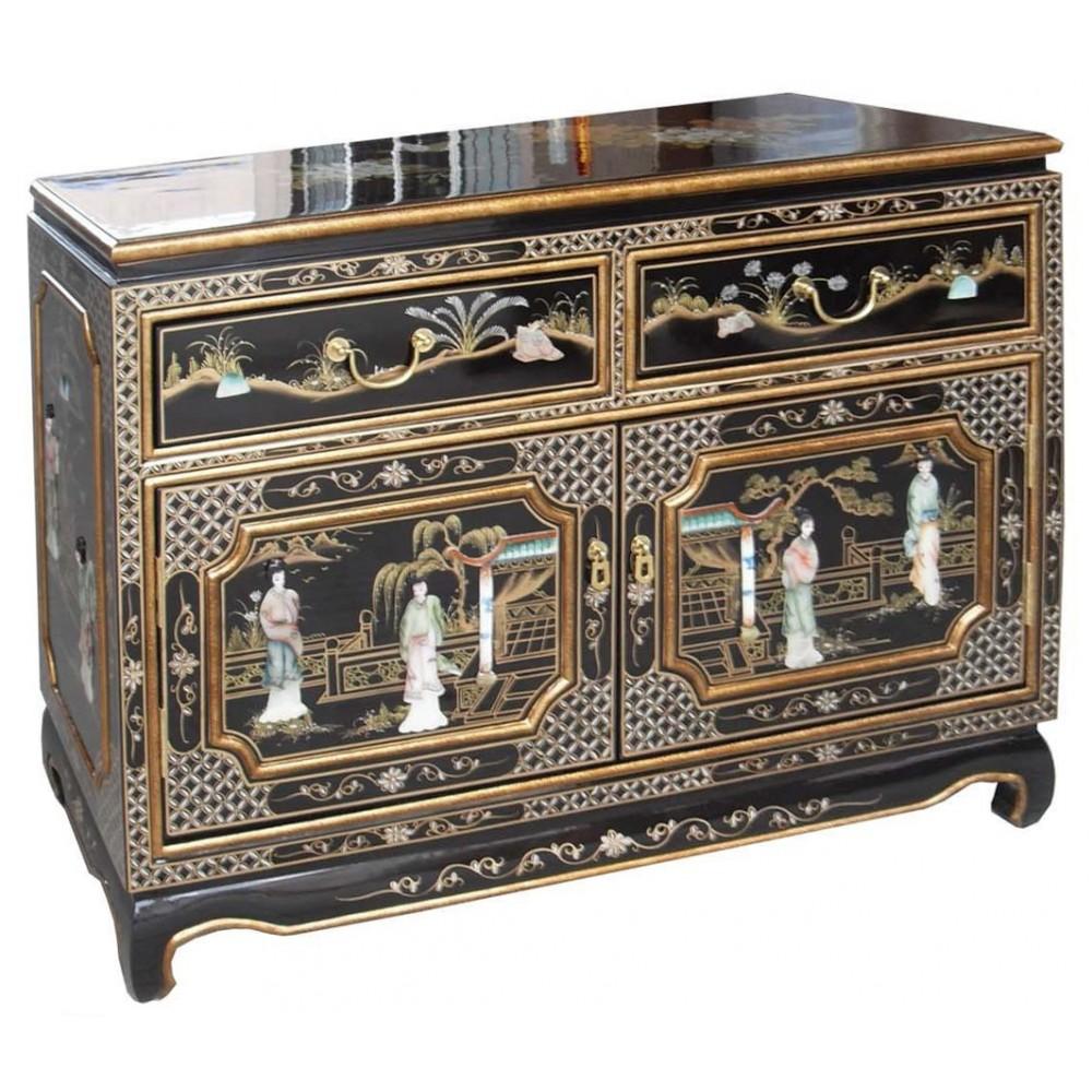 Petit buffet chinois laque noire magasin du meuble for Meuble asiatique