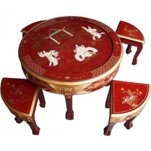 Table basse ronde chinoise 4 tabourets laque rouge