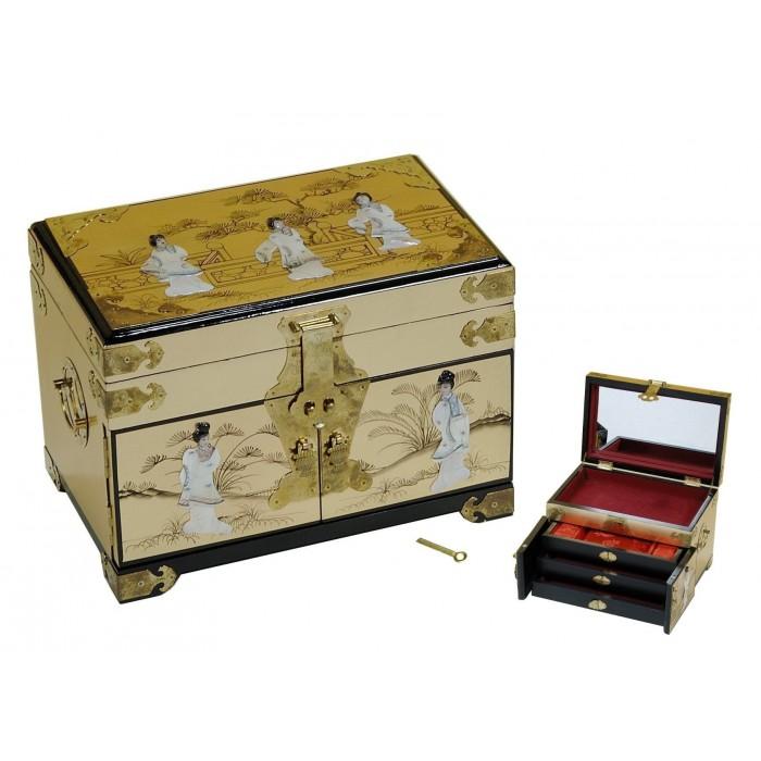 boite bijoux laque d 39 or et nacre magasin du meuble asiatique et chinois. Black Bedroom Furniture Sets. Home Design Ideas