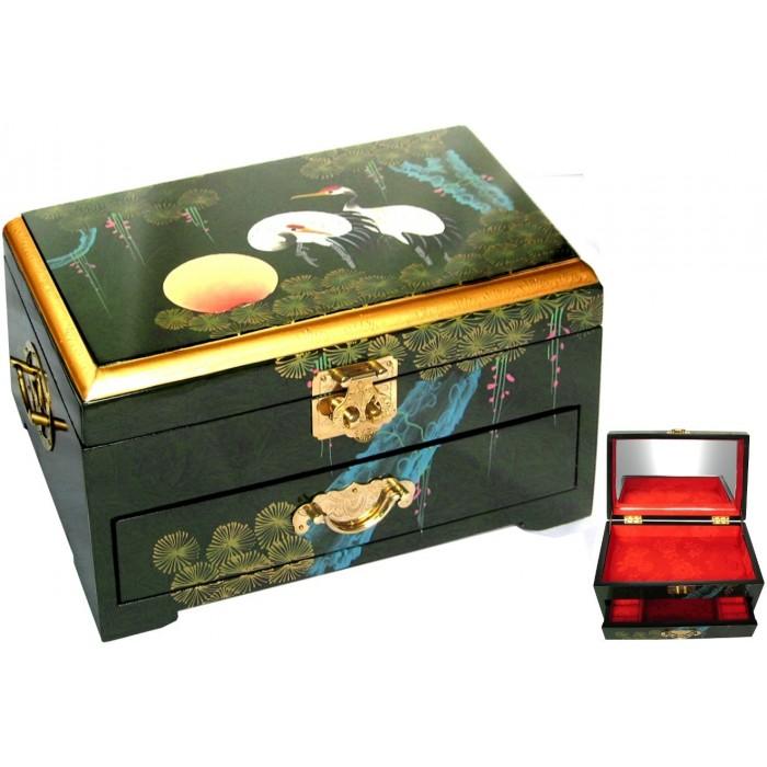 boite bijoux chinoise laque verte magasin du meuble asiatique et chinois. Black Bedroom Furniture Sets. Home Design Ideas