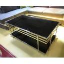 Table de salon verre noir et acier